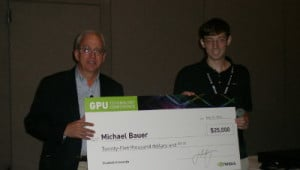 NVIDIA Chief Scientist Bill Dally and 2012 Graduate Fellow Michael Bauer.
