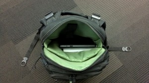 Brian's backpack looking quite empty without his laptop.