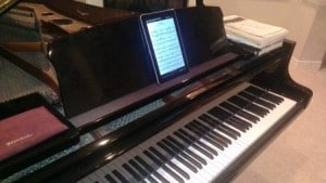 Rob Csognor stores his sheet music on a Tegra-powered tablet.