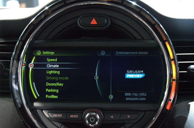 Mini's multicolor, LED-lit, circular center console powered by NVIDIA Tegra.
