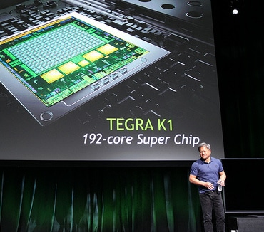 NVIDIA CEO Jen-Hsun Huang introducing the Tegra K1 Sunday night.