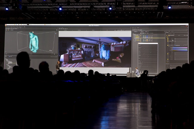 Thousands of attendees packed a room to hear about how Pixar's team uses GPUs.