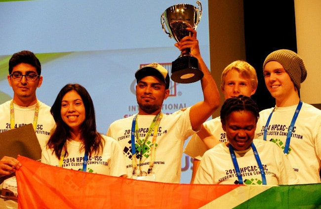 The winning team at the International Supercomputing Conference's student cluster competition.