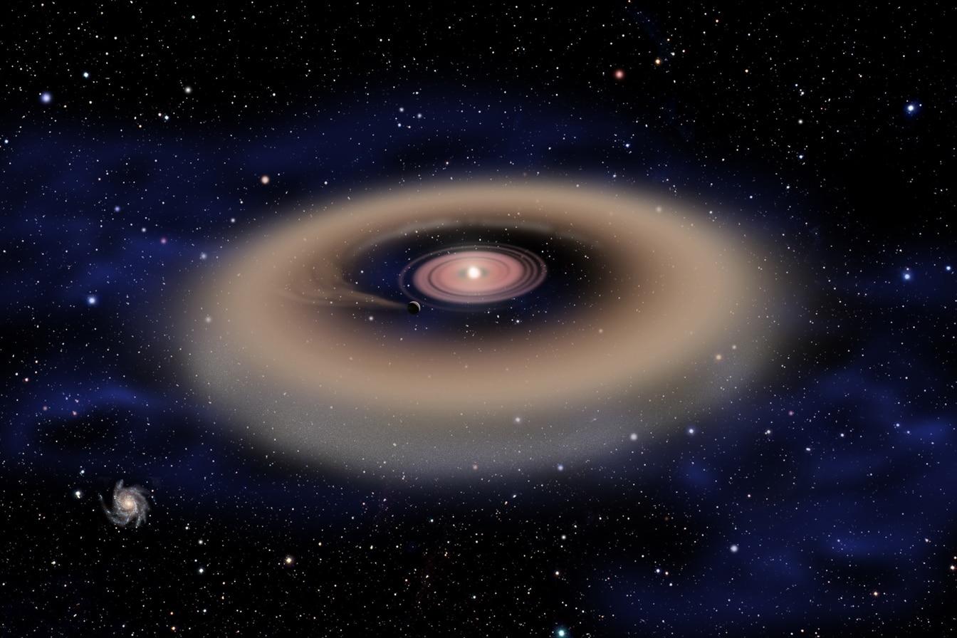 巨大ガス惑星の誕生:原始惑星と呼ばれる固体に氷やちりが集まってガス惑星が形成される