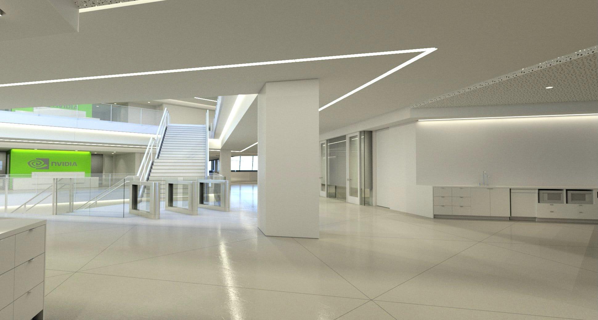 NVIDIA Iray 繪製出 NVIDIA 聖塔克拉拉新建案內部通往夾層的樓梯。