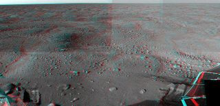 Stereoscopic 3D view of the Martian surface near NASA's Phoenix Lander's surface.