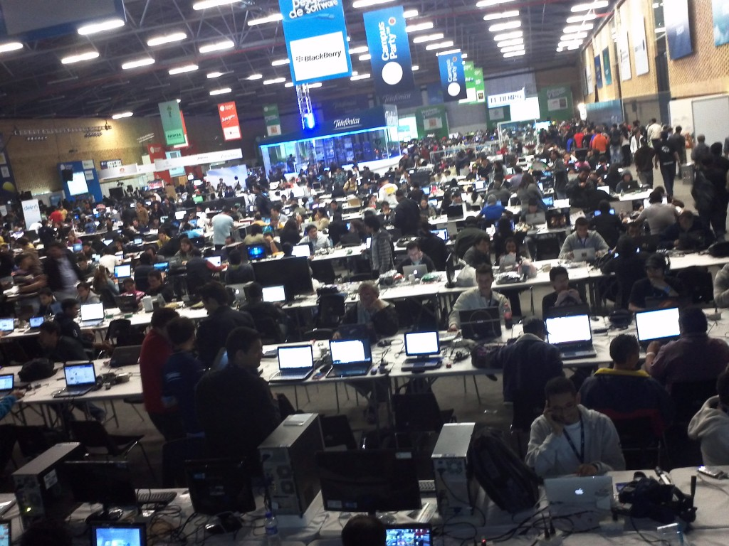 Picture of the LAN setup at the Campus Party in Bogota Colombia