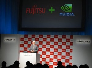 NVIDIA's Steve Furney-Howe presents the Tegra 3-powered Fujitsu Arrows X quad-core LTE phone