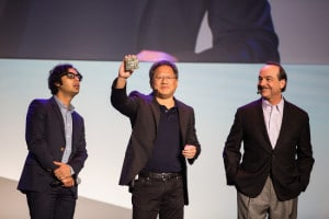 Actor Kuna Nayyar, NVIDIA CEO Jen-Hsun Huang and AT&T CEO Ralph de la Vega.