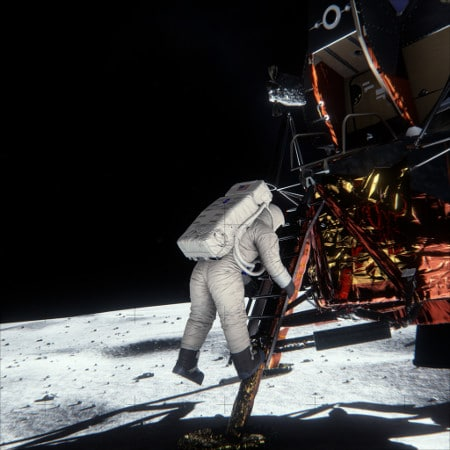 Picture perfect: Maxwell was able to recreate the conditions on the Moon's surface that led to NASA's iconic shot.
