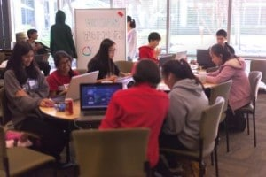 Students collaborate at CodeDay