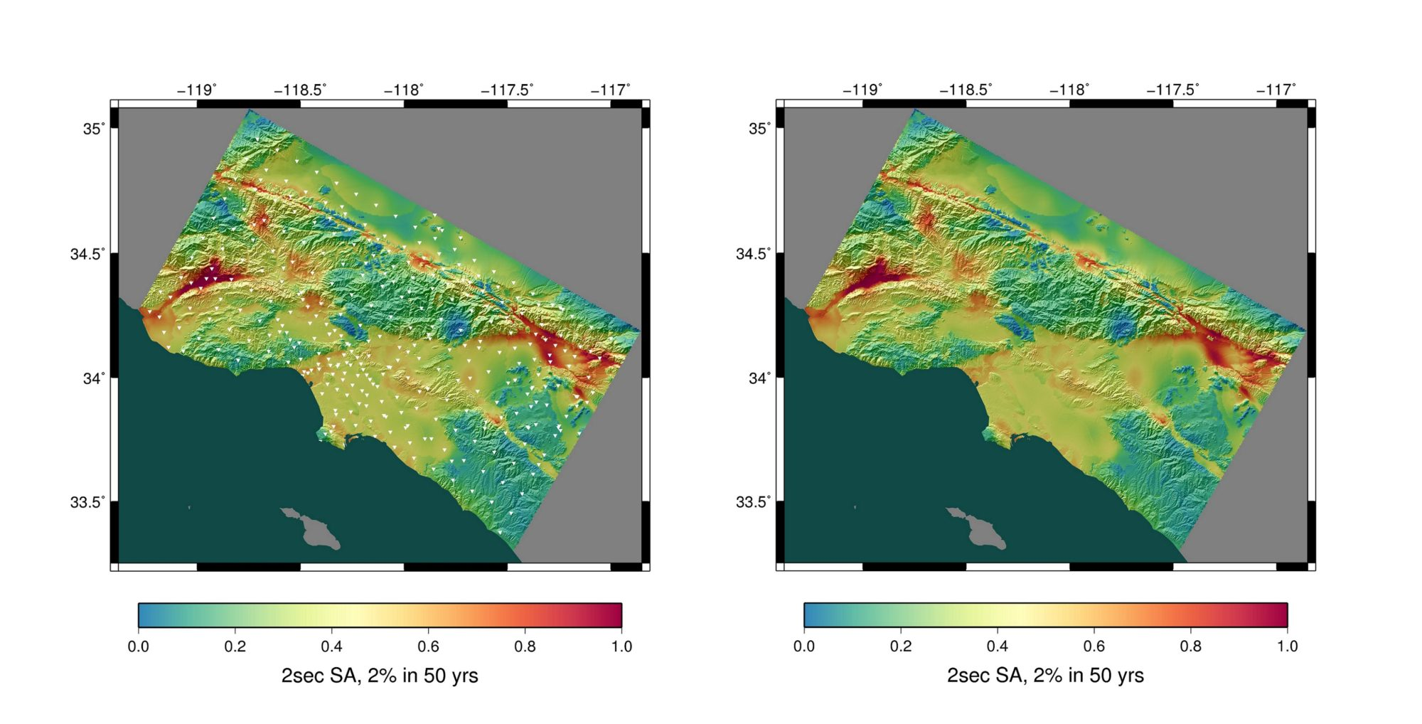 CyberShake Study 15.4 hazard map of Los Angeles basin with 336 sites marked with white triangles (on the left). Map displays the shaking intensity expected with a 2% probability in 50 years. Warm colors represent areas of high hazard.