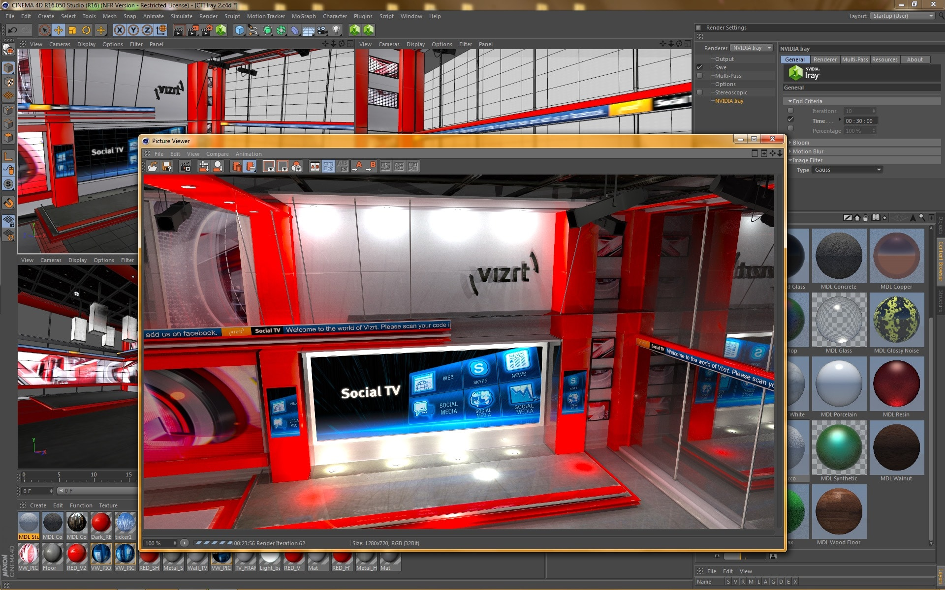 Screenshot of NVIDIA Iray renderer for MAXON CINEMA 4D