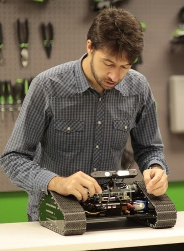 Rafaello Bonghi working on his Jetson TK1-powered robot.