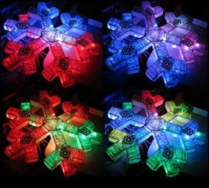 Pixel snowflake light display.