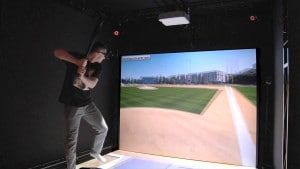 Troy Tulowitzki from the Toronto Blue Jays trying the Baseball simulator at CES earlier this year.