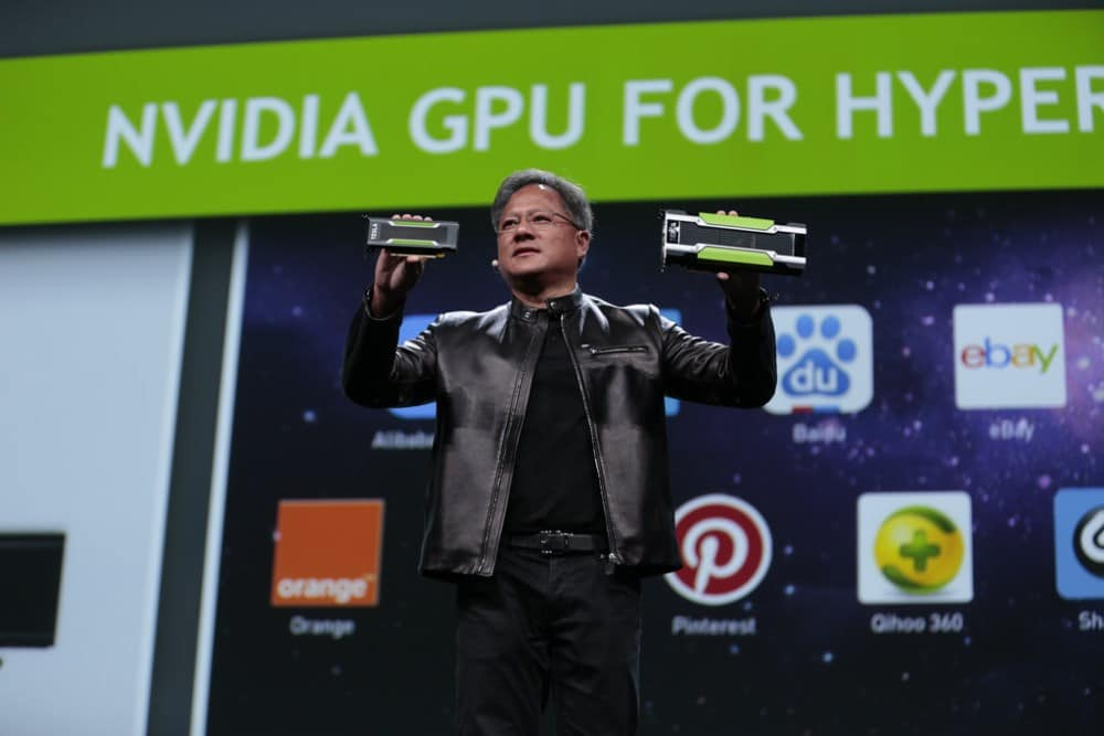 NVIDIA's CEO Jen-Hsun Huang showing an M40 during GTC 2016 keynote