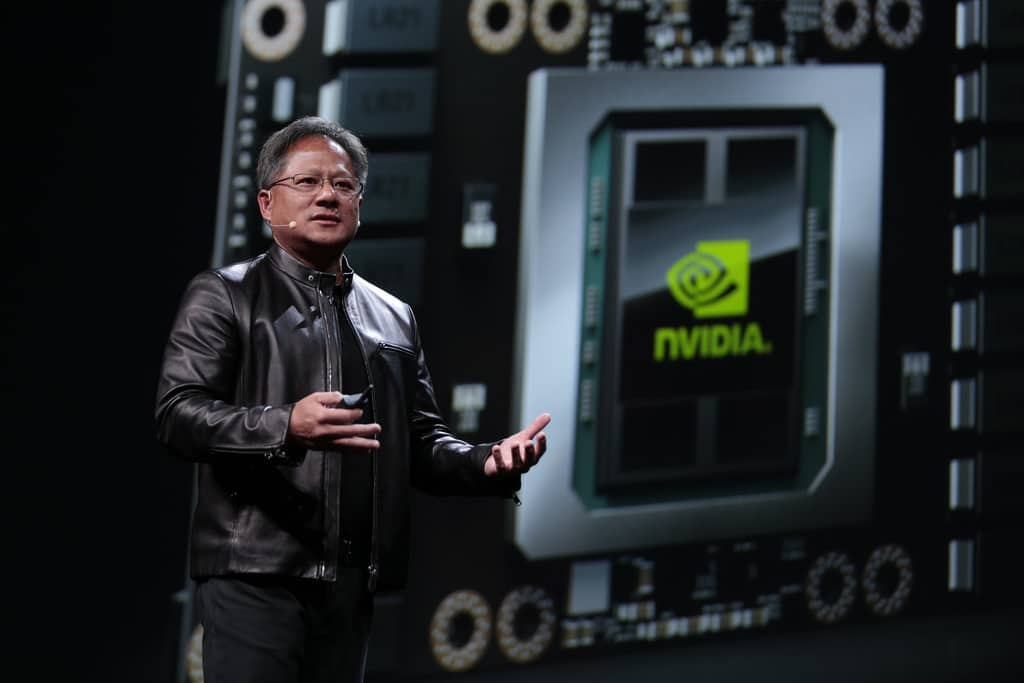 NVIDIA's CEO Huang and a Tesla P100