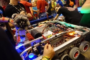 AngelBotics team from East High School in Denver, Colorado, test their robot at the FIRST Robotics Champtionship in St. Louis