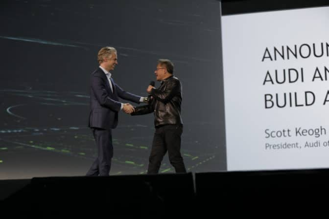 Scott Keogh, president of Audi of America, speaks with NVIDIA CEO at CES 2017