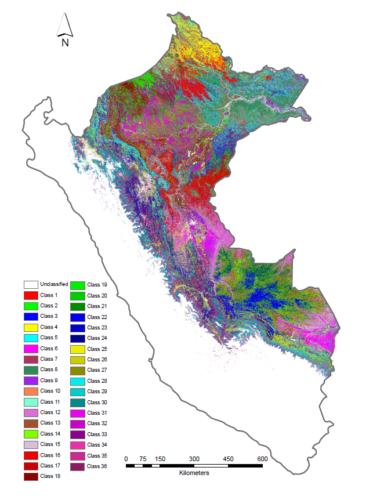 Peru's 36 forest types, each mapped in a different psychedelic color