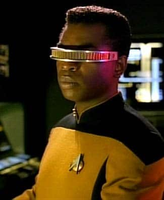 Geordi La Forge wearing the visor in Star Trek: Next Generation