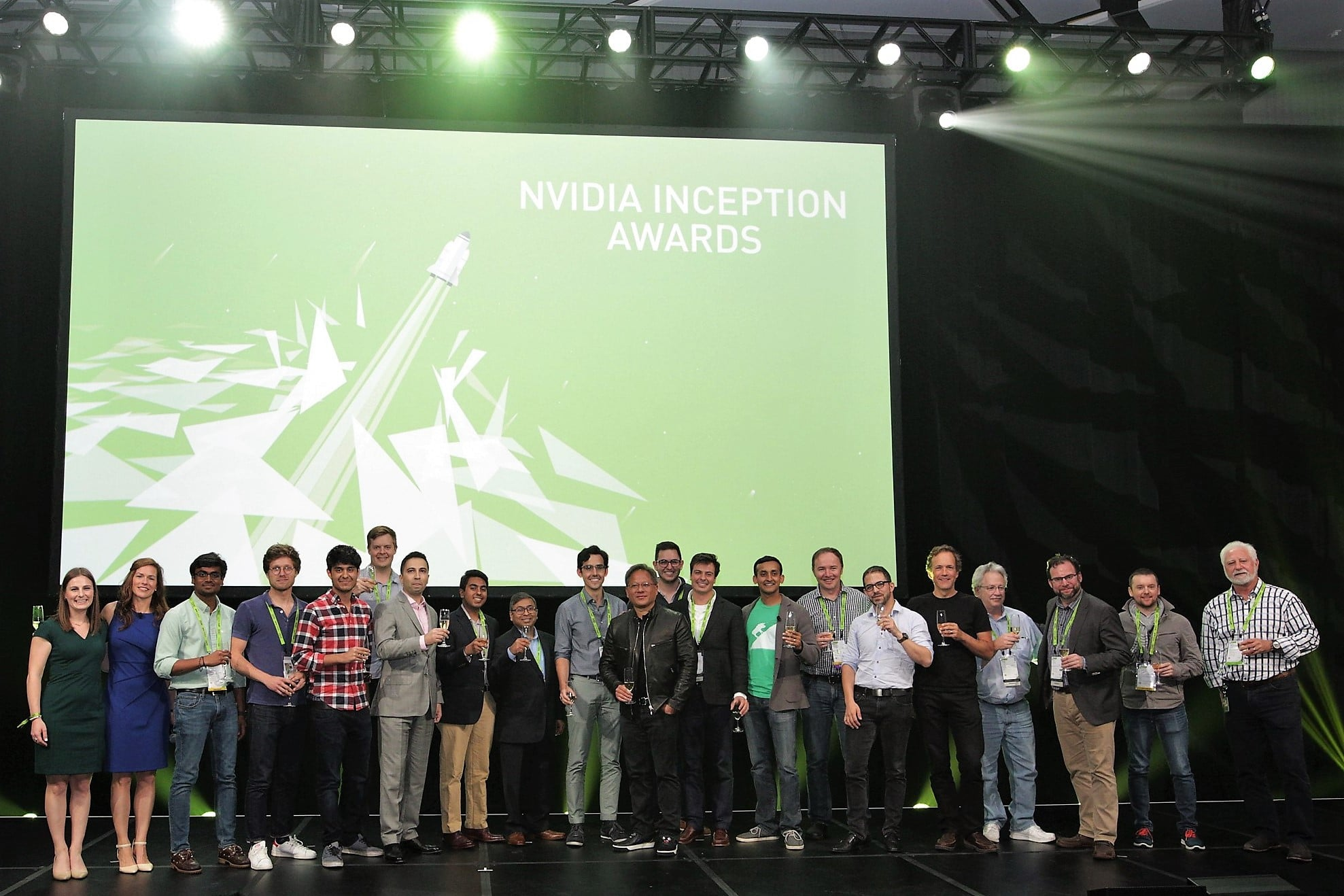 Winners in the NVIDIA Inception competition take the stage.