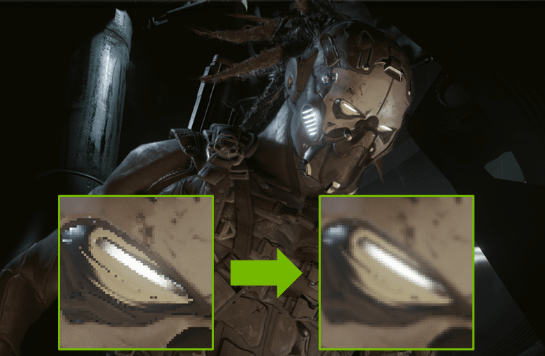 AI computer graphics: NVIDIA's AI anti-aliasing smooths out jagged edges and replaces them with smooth lines.