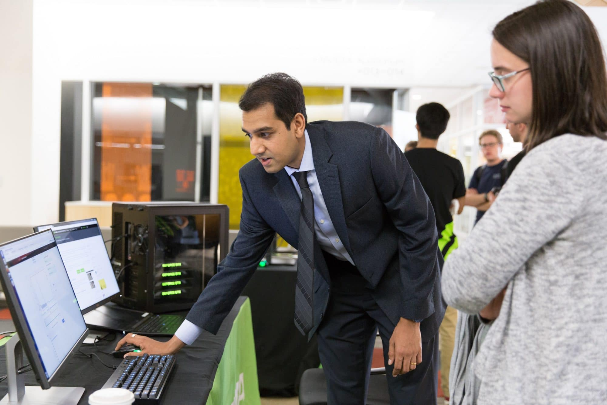 NVIDIA's Shashank Prasanna demonstrates our Deep Learning GPU Training System (DIGITS) at a university recruiting event.