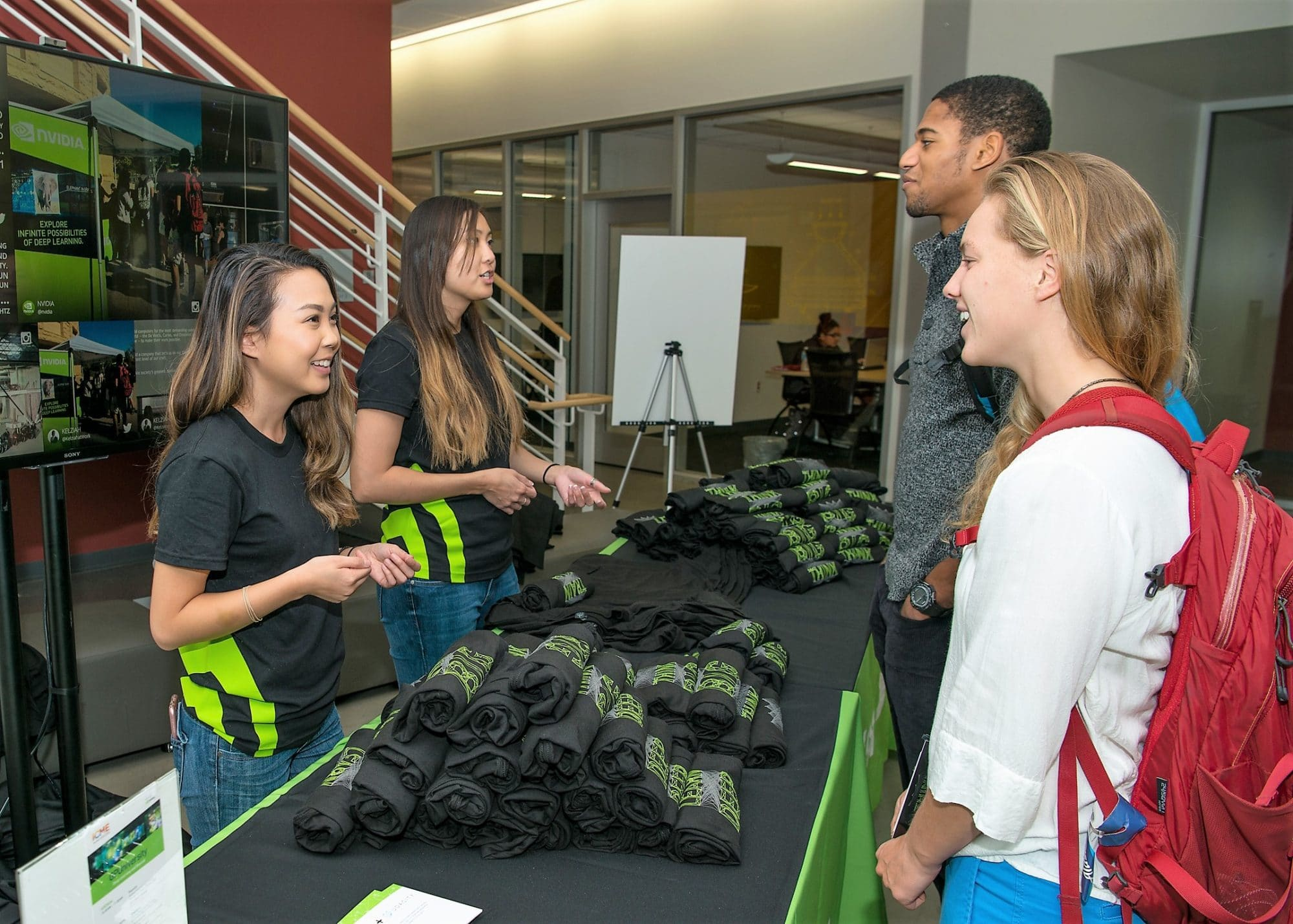 T-shirt giveaway during NVIDIA college recruiting event.