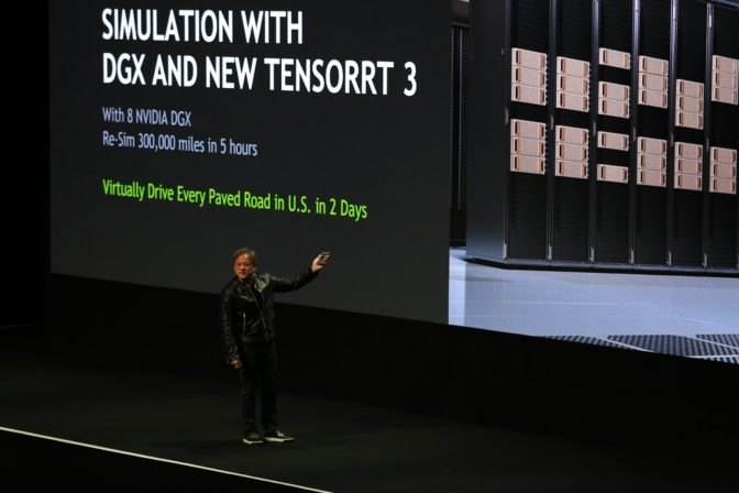NVIDIA CEO Jensen Huang on stage at GTC Europe describing the awesome simulation power of GPU technologies.