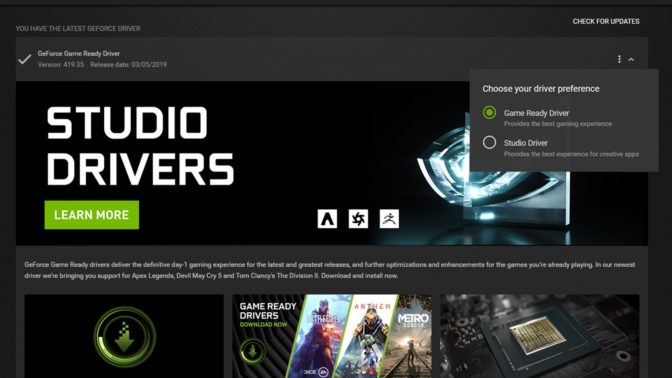 NVIDIA Studio Driver GeForce Experience