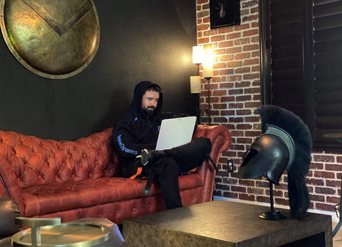 Vitaly Bulgarov with his Acer ConceptD 7 — an RTX Studio laptop.